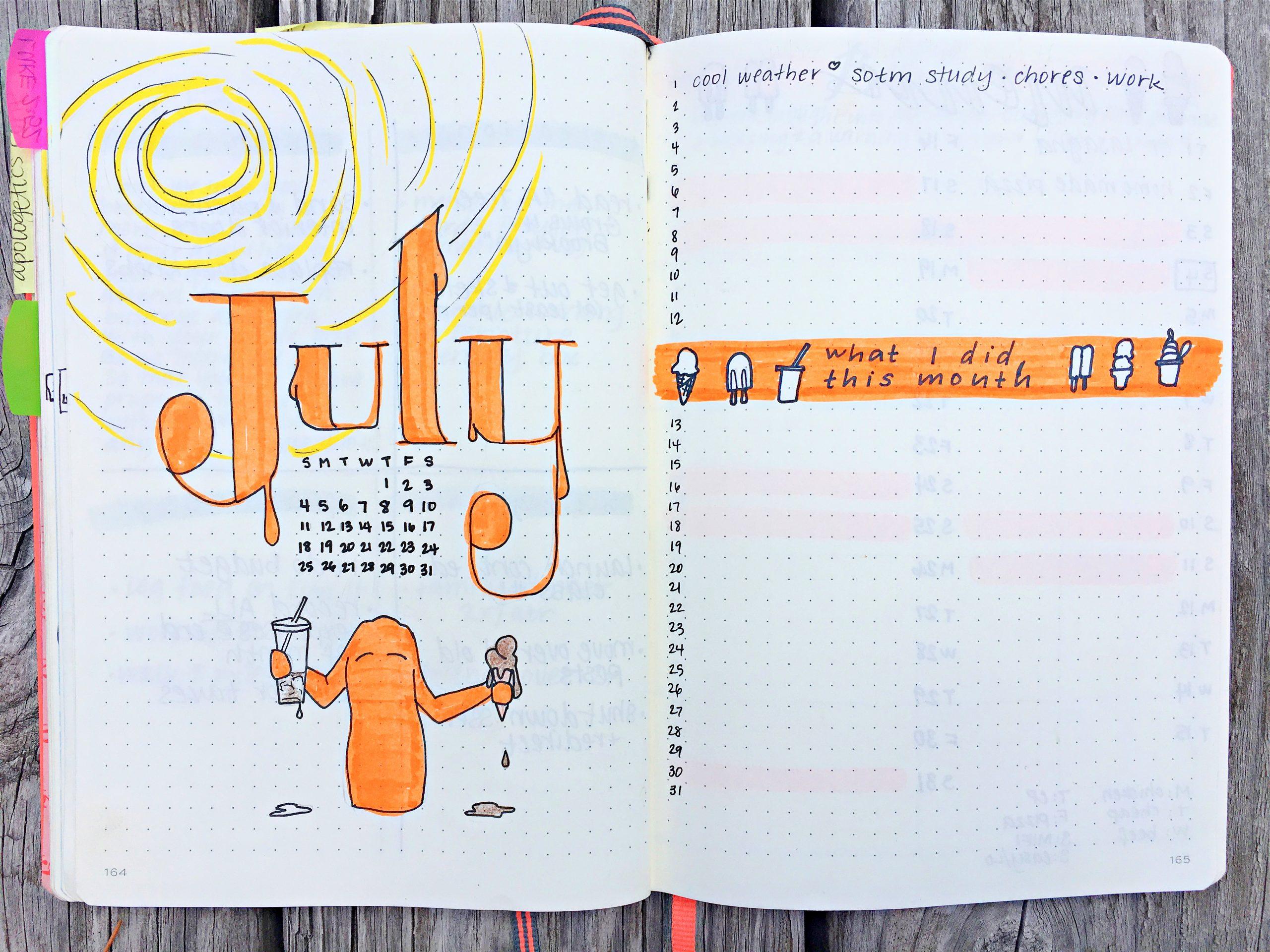 July 2021 Bullet Journal setup
