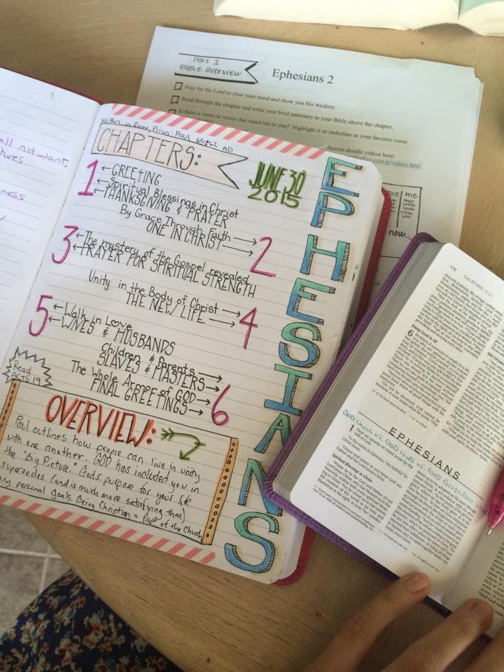 A peek inside Rachel's Bible Journal
